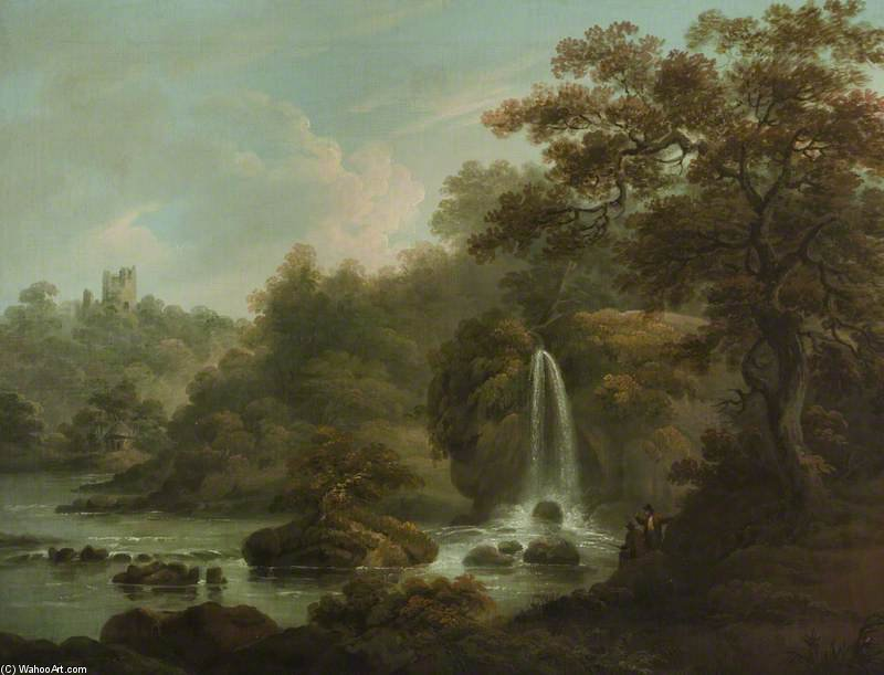 Il Weeping Rock Una Cascata a Hackfall vicino Ripon, West Riding of Yorkshire di Anthony Devis (1729-1816, United Kingdom)