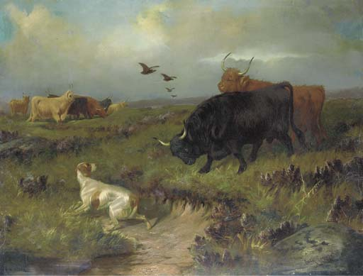 Highland Cattle, Con Un setter e Grouse On The Moor di Colin Graeme Roe (1858-1910, United Kingdom) | ArtsDot.com