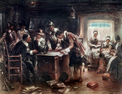 La firma del Mayflower Compact di Edward Percy Moran (1829-1901, United Kingdom)