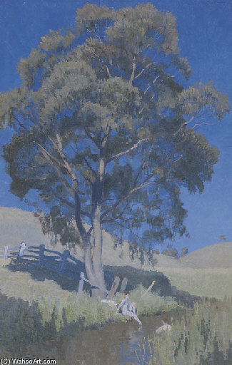 un'estate Idillio  di Elioth Gruner (1882-1939, New Zealand)