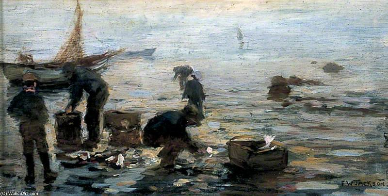 costa scena con  Pescatori  di Frederick William Jackson  (ordinare Belle Arti la pittura a olio Frederick William Jackson)