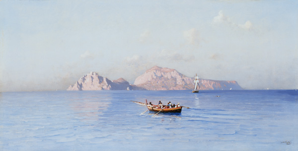 Ordinare Stampe D'arte Su Tela : controllare Capri Of il nord Side di Friedrich Nerly (1808-1878, Germany) | ArtsDot.com