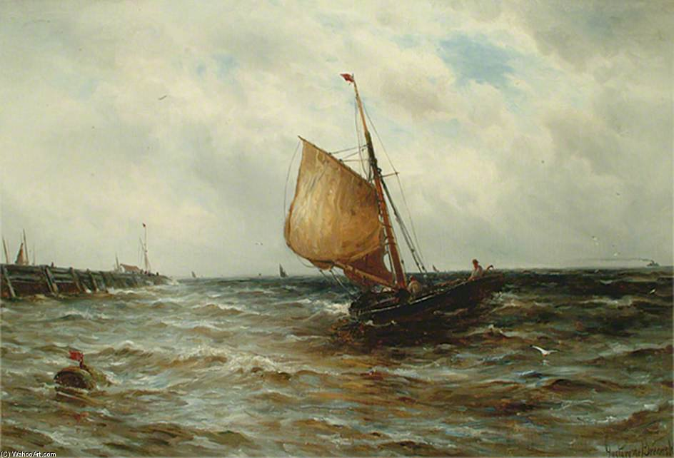 seascape con un canna in barca di Gustave De Breanski (1856-1898, United Kingdom)