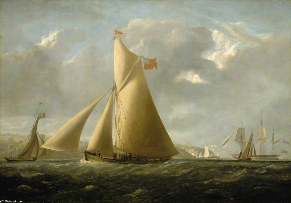 The Cutter Yacht Gazelle off Cowes di John Christian Schetky (1778-1874, United Kingdom)
