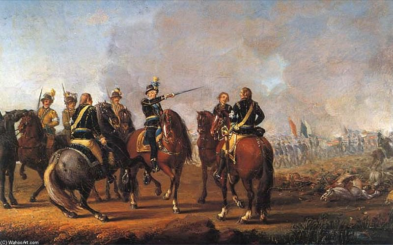 Battle Of Uttismalm di Pehr Hillestrom (1732-1816, Sweden)