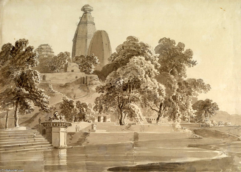 Madan Mohan Tempio, In Yamuna, Vrindavan di Thomas And William Daniell (1769-1837, United Kingdom)