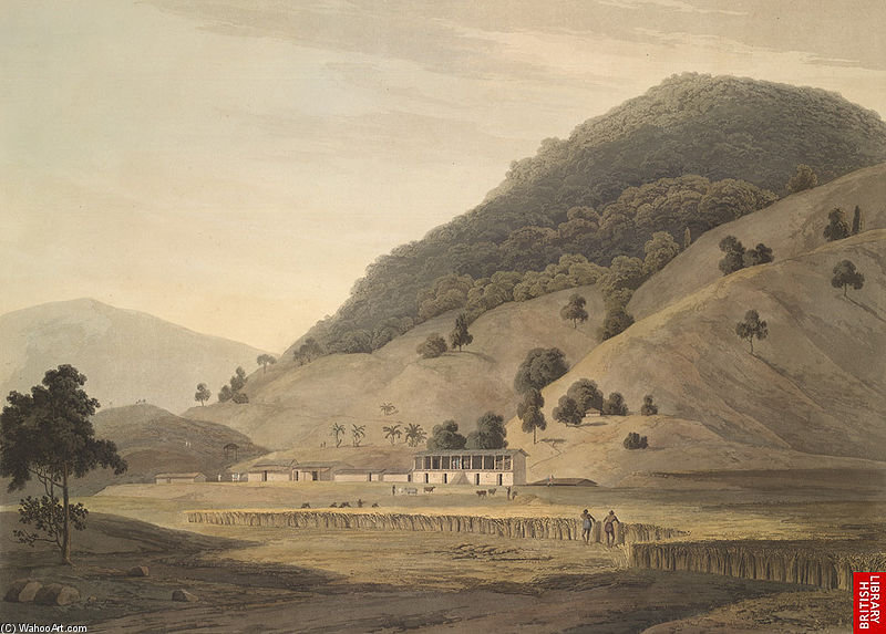 Village Jogiana, Vicino Duggada, Kotdwar, Uttarakhand di Thomas And William Daniell (1769-1837, United Kingdom)