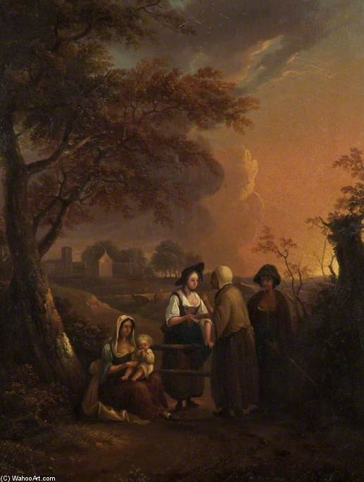 Cameriera del Parson And The Gypsies di Thomas Barker (1769-1847, United States)