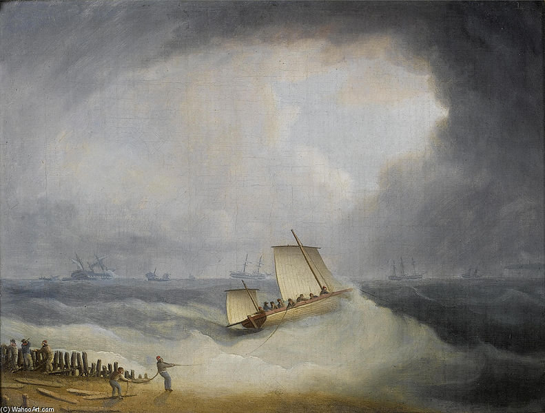 A Deal Lugger partire per Tempesta Navi legato, nel Downs di Thomas Buttersworth (1768-1842, United Kingdom)