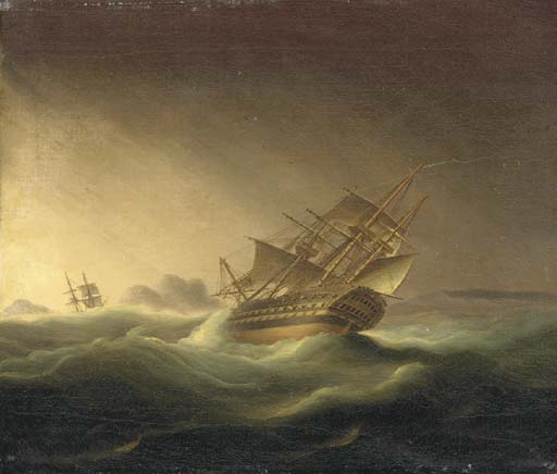 Una prima Rater in una tempesta di Thomas Buttersworth (1768-1842, United Kingdom)