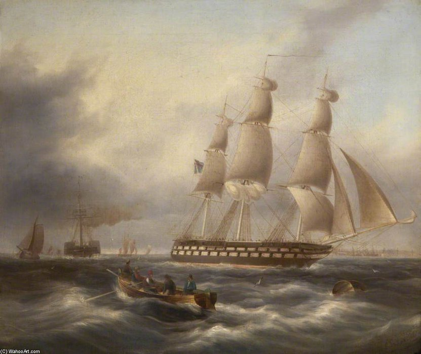Una Fregata Entrare Il Tago di Thomas Buttersworth (1768-1842, United Kingdom)