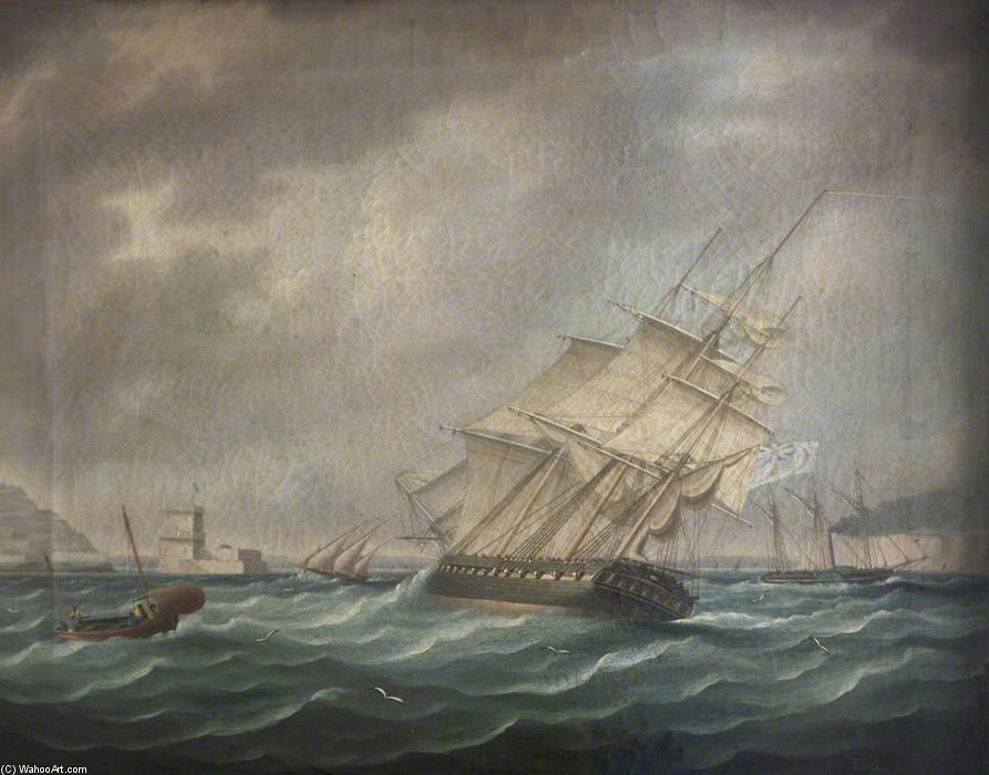 A Frigate di Thomas Buttersworth (1768-1842, United Kingdom)