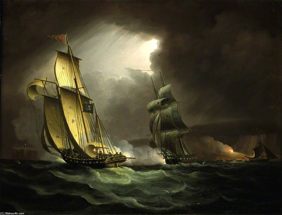 Un Lugger Contrabbando inseguito da un Brig Navale - di Thomas Buttersworth (1768-1842, United Kingdom)