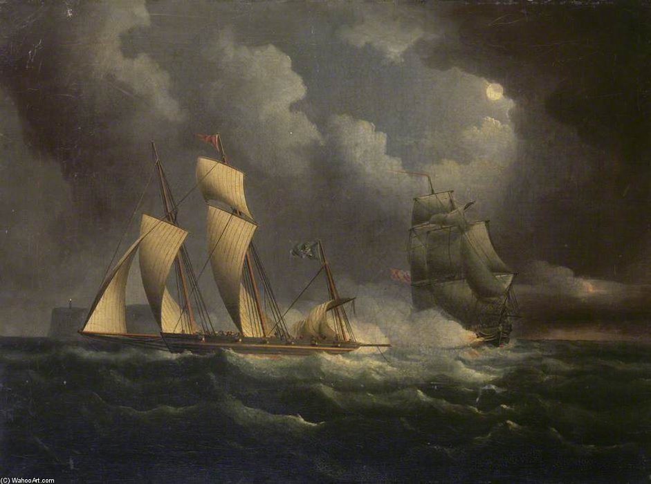 Un Lugger Contrabbando inseguito da un Brig Naval di Thomas Buttersworth (1768-1842, United Kingdom)