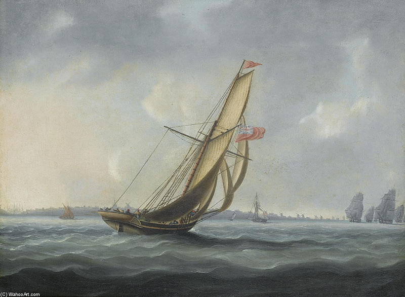 Uno squadrone della flotta cuscinetto lungo il canale largo della costa meridionale dell Inghilterra Verso un Dispaccio Cutter On-coming di Thomas Buttersworth (1768-1842, United Kingdom)
