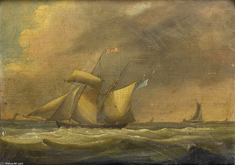 Un Schooner Topsail In forte moto ondoso di Thomas Buttersworth (1768-1842, United Kingdom)