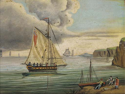 Una Fregata inglese nel canale; E un Armed Cutter Inshore di Thomas Buttersworth (1768-1842, United Kingdom)