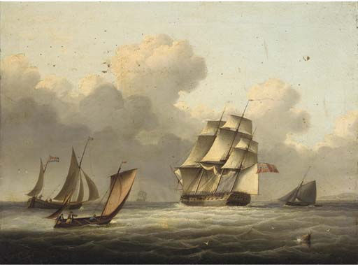 Una Fregata Outward-bound che corre lungo il canale di Thomas Buttersworth (1768-1842, United Kingdom)