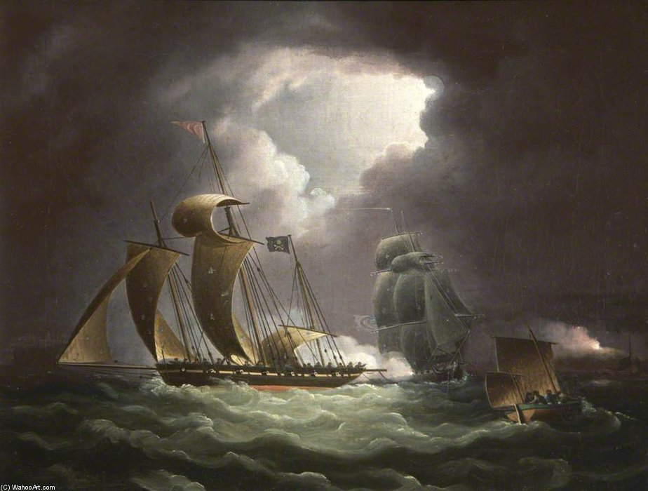 Chase del pirata Lugger vi Guarda di Thomas Buttersworth (1768-1842, United Kingdom)