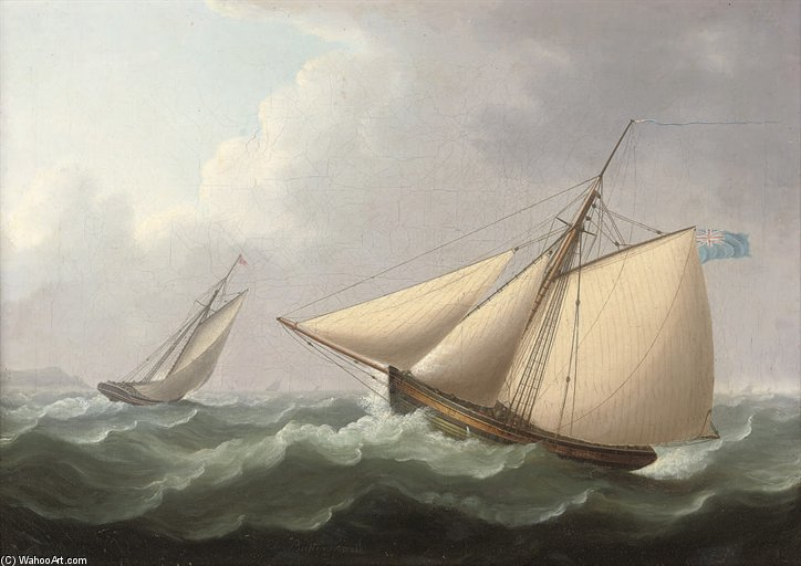 Cutters In esercizio in uno Stiff Breeze Offshore di Thomas Buttersworth (1768-1842, United Kingdom)