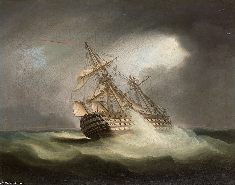 HMS vittoria a vele spiegate e in un Squall di Thomas Buttersworth (1768-1842, United Kingdom)