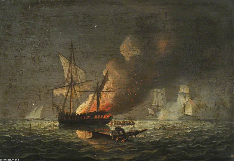 Hms Ippocampo acquisizione del badiri-i-zaffera di Thomas Buttersworth (1768-1842, United Kingdom)