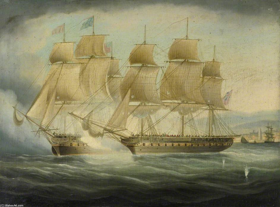 Hms shannon Assunzione chesapeake Uss di Thomas Buttersworth (1768-1842, United Kingdom)