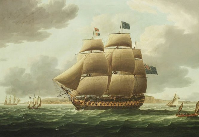 Hms Ville de Paris di Thomas Buttersworth (1768-1842, United Kingdom)