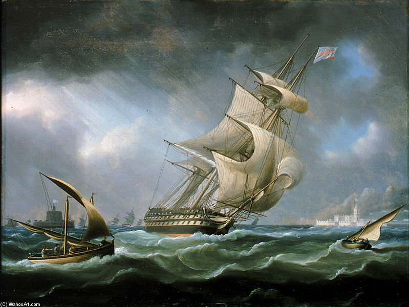 HMS Warrior al largo della foce del fiume Tago di Thomas Buttersworth (1768-1842, United Kingdom)