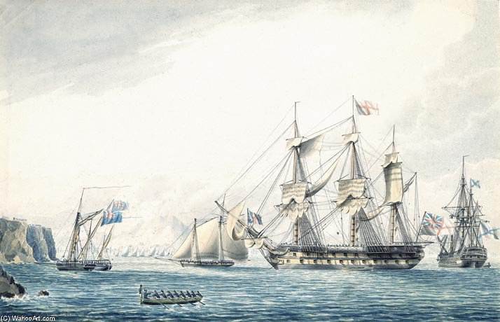 nave argo con russo nave di Thomas Buttersworth (1768-1842, United Kingdom)