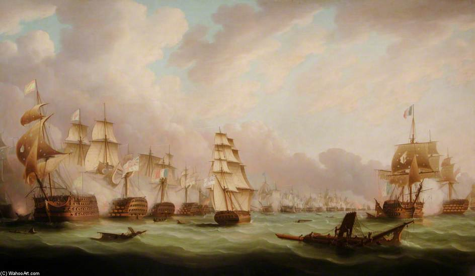 La Battaglia di Trafalgar di Thomas Buttersworth (1768-1842, United Kingdom) | Riproduzione Art | ArtsDot.com
