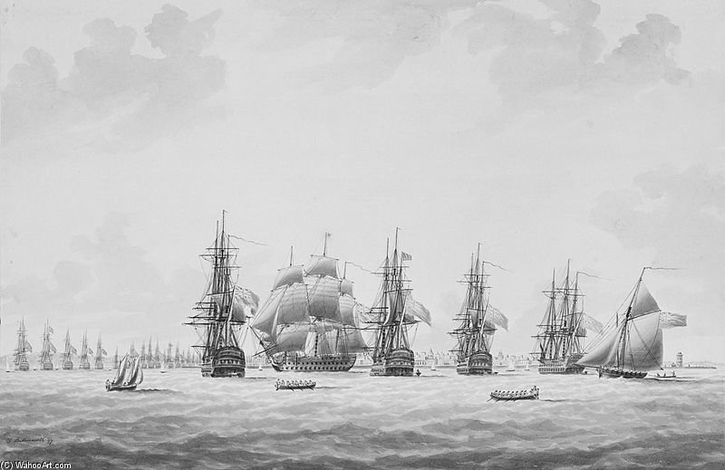 Il Inshore blocca squadrone Venendo ad un ancoraggio di Thomas Buttersworth (1768-1842, United Kingdom)