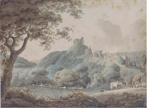cavalli al pascolo in un paesaggio rurale con castle Rovine Oltre di William Payne (1760-1830, United Kingdom) | Copia Pittura | ArtsDot.com