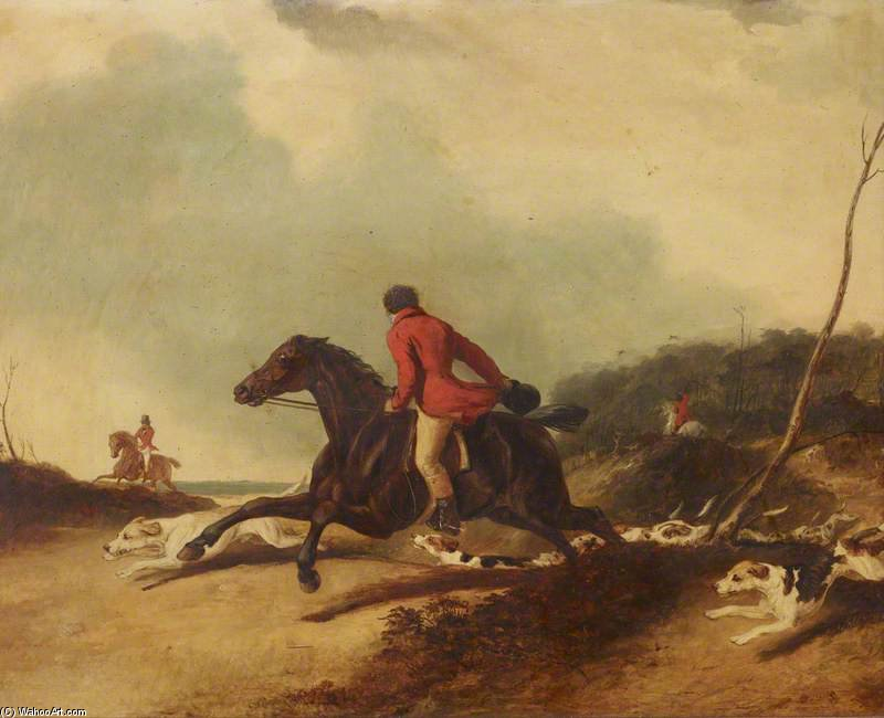 Un Huntsman Incoraggiare Hounds di Abraham Cooper (1787-1868, United Kingdom)