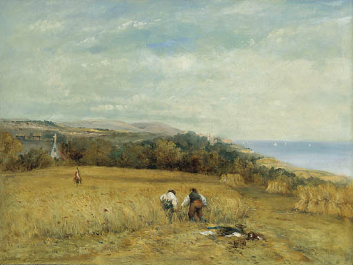Mietitrebbie In Un Cornfield Sul Isola di Wight di Frederick Waters Watts (1800-1870, United Kingdom)