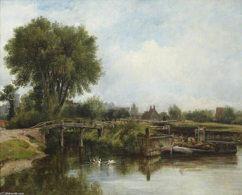 The Old Lock, Windsor di Frederick Waters (William) Watts (1800-1870, United Kingdom)