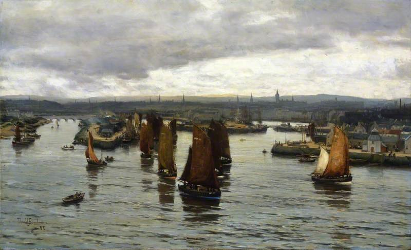 Il Herring Fleet Leaving The Dee, Aberdeen di David Farquharson (1839-1907, United Kingdom)