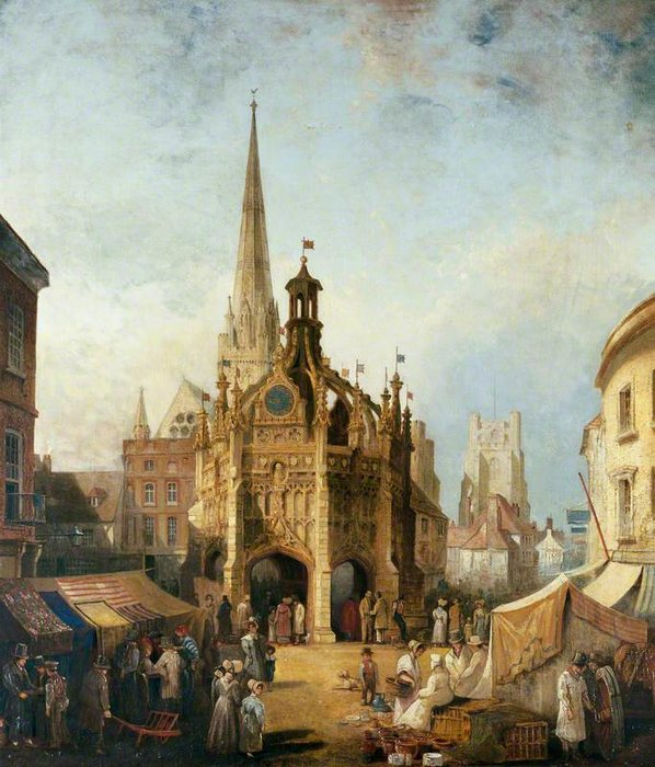 una vista di Chichester Traversa da est Strada , Ovest Sussex di Henry Pether (1828-1865, United Kingdom)
