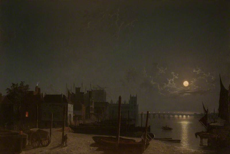 Westminster dal cavallo-traghetto Quay By Moonlight di Henry Pether (1828-1865, United Kingdom)
