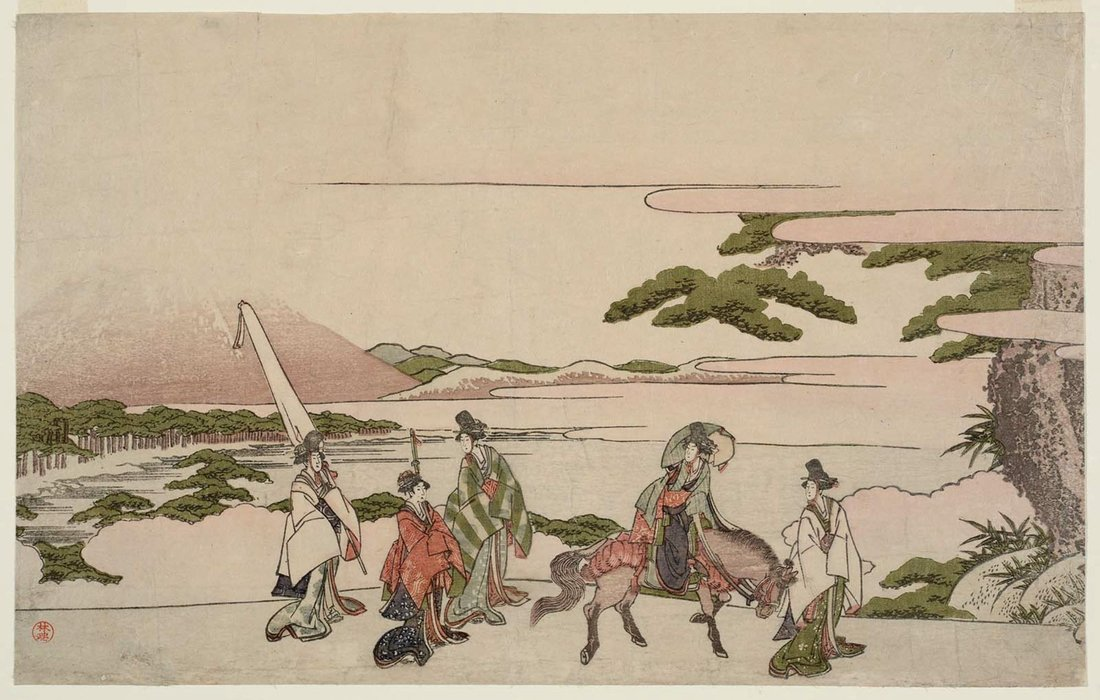 Parodia del viaggio di Narihira To The East di Katsushika Hokusai (1760-1849, Japan)