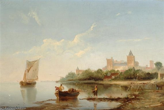 Riverscape On A Sunny Day di Cornelis Christiaan Dommelshuizen (1842-1928, Netherlands)