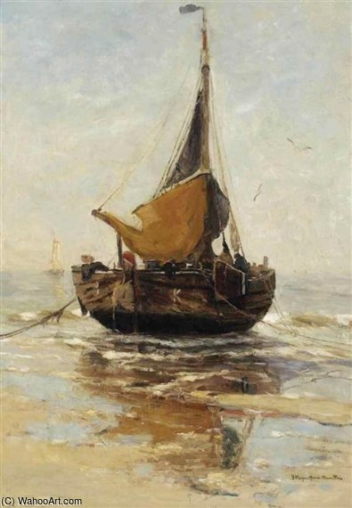 Un Bomschuit On The Beach di Gerhard Arij Ludwig Morgenstje Munthe (1875-1927, Belgium)