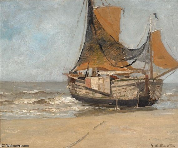Barge On The Beach di Gerhard Arij Ludwig Morgenstje Munthe (1875-1927, Belgium)