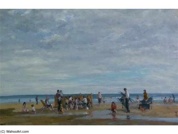 'beach Scena , Llandudno' , con le vacanze Maker di Robert Dudley (1826-1909, United Kingdom)