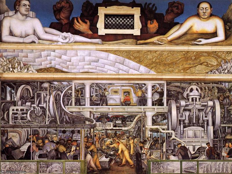 industria detroit, 1933 di Diego Rivera (1886-1957, Mexico)