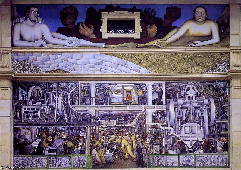 industria detroit, parete sud, 1933 di Diego Rivera (1886-1957, Mexico)