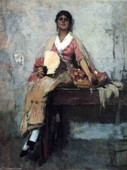 flower girl di Frank Duveneck (1848-1919, United States)