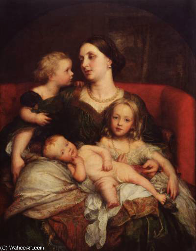 mrs george Augusto frederick cavendish bentinck ei suoi bambini di Frederick Waters Watts (1800-1870, United Kingdom)