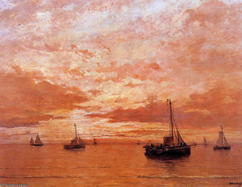 Mare Calmo sole  di Hendrik Willem Mesdag (1831-1915, Netherlands)