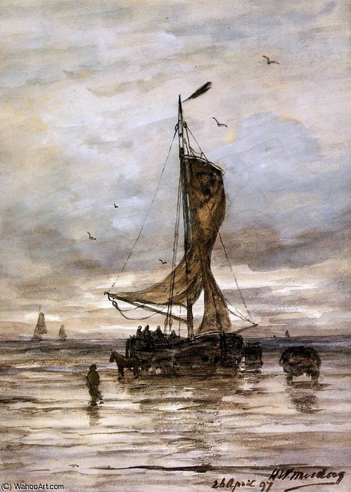 nave sole  di Hendrik Willem Mesdag (1831-1915, Netherlands)
